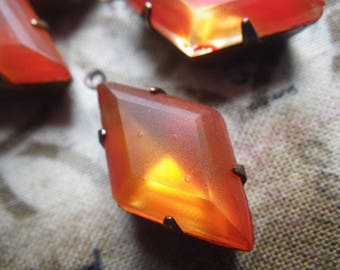 Fire Opal Orange Painted Vintage Diamond-Shaped 21x12mm Vintage Glass Drops 4 Pcs