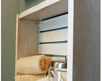 White Nautical/Beach Shelf, Bathroom Shelf, Beach Crate Shelf, Beach Shelf, Nautical Shelf, Beach Decor, Bathroom Storage, Lake House Decor