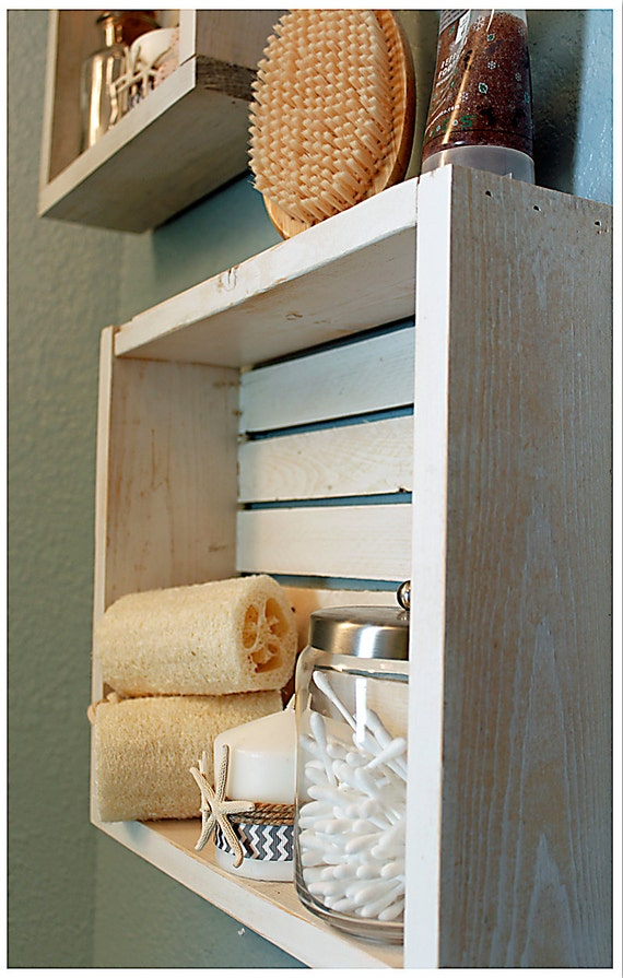 White Nautical Beach Shelf Bathroom Shelf Beach Crate Shelf