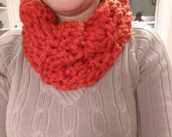 Crochet Orange Cowl.  Crochet Cowl.