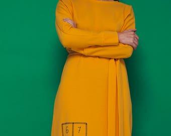 Viscose dress with original detail/unique idea/ new attitude to fashion/ sustainable/ yellow/ ash pink/ dark grey