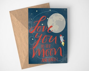 Love You To The Moon And Back Card, Card for Kids, Birthday Card For Kids, Space Card, Moon Card, Rocket Card, Space Lovers, Child Card