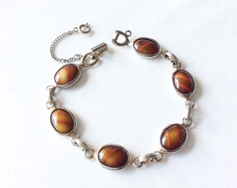 Sarah Coventry silver tone glass cabochon link bracelet vintage signed jewelry
