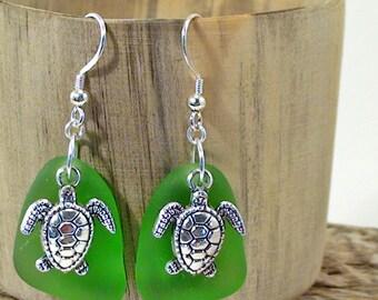 Turtle Earrings Green Sea Glass Earrings Beach Earrings Bohemian Earrings 925 Sterling Silver Sea Glass Jewelry