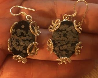 Earrings natural Australian obsidian on Sterling Silver 925/1000.