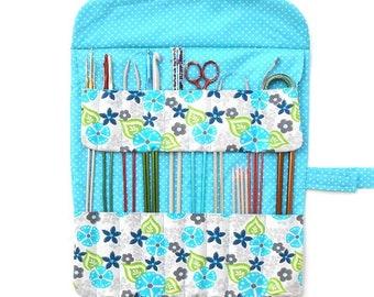 Knitting Needle Storage, Gift For Knitters, Turquoise Grey Green DPN Organizer, Straight Needle Case, Knitting Supply Holder, 17 Pockets