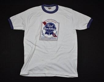 vintage 80s pabst blue ribbon pbr ringer shirt size large