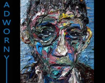SOLD - Oil Painting 16 by 12 by 3/4 in. / original oil painting signed boy impressionist abstract outsider folk portrait