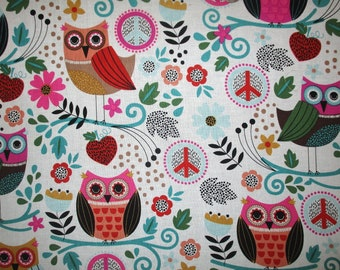 Owl Peace Signs Quilt Fabric 3/4YD