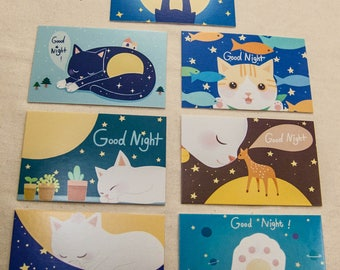7 Small Postcards Set cat drawing