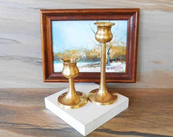 Vintage Brass Candle Stick, Set of Two Brass Candle Holder,solid brass candlesticks