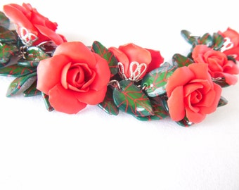 rose Bracelet red rose jewelry polymer clay jewelry gift for her flower bracelet statement bracelet flower jewelry floral jewelry wedding