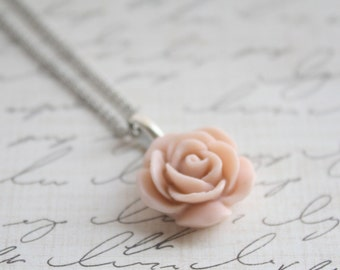 Pick your Rose Color - Antique Pink Rose Necklace - Blush Rose Necklace - Flower Necklace - Bridesmaid Necklace - Flowergirl Necklace