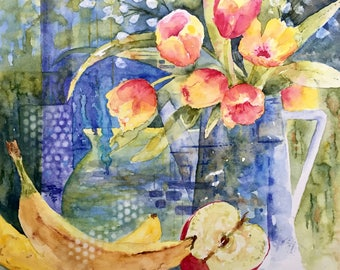 Abstract still life, bananas, apple, tulips, blue and yellow, Fruit and Flowers