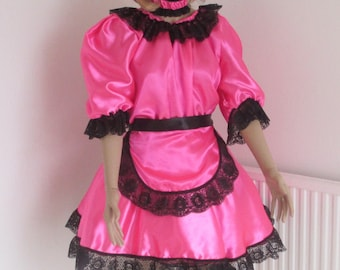Stunning hand made Hot Pink French Maids Uniform - NOT a fancy dress costume