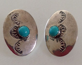 Native American Old Pawn Navajo Sterling Silver Turquoise Concho Post Earrings