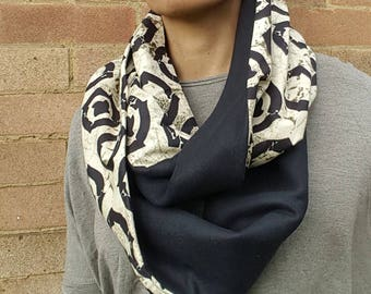 Black and Beige Infinity Scarf