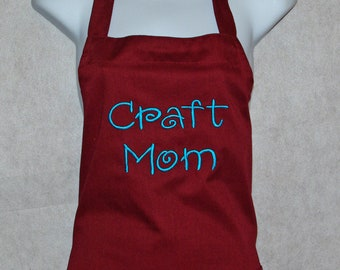 Craft Mom Apron, Crafting Apron, Craft Show, Vendor Apron, Personalized With Name, No Shipping Charge, Ready To Ship TODAY, AGFT 500