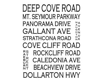 Deep Cove North Vancouver B.C. - Love This Place Street Name Art Print on Paper - Customize With Your Street - Home Decor TheJitterbugShop