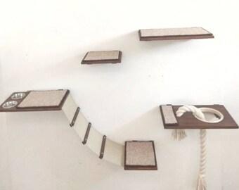 """Wall complex """"Cat zone """"Black and white, Pet furniture, cat gift, cat shelf, cat tower, cat furniture, cat bed, modern cat bed, Ht"""