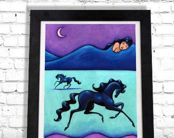 Horse Art Print, Woman and Horse Art, Surreal Art, Prancing Pony, Black Horse, Arabian Horses, Equestrian Gift, Gift for Her, Art by Shano