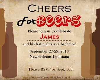 Cheers for Beer! Bachelor Invitation