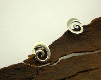 Spiral studs sterling silver earrings - casual jewelry for everyday