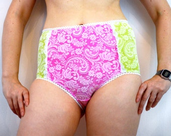 Knickers with pink and green embossed lace, underwear, lingerie.