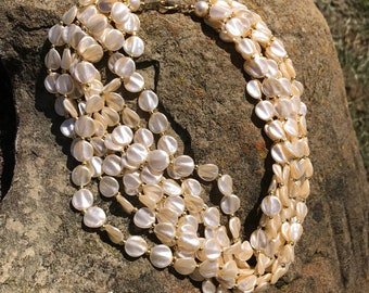 Multi bead necklace natural tan necklace gift for her Mother's Day