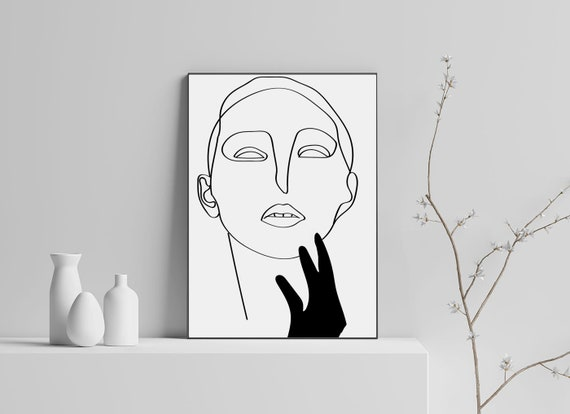 Line Drawing Face Woman : Fashion poster downloadable set of wall art drawing face