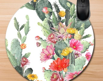 Cactus Mouse Pad/Custom Mouse Pad/Blooming Cactus Mouse Pad/Watercolor Cactus Mouse Pad/Cactus Office/Teacher Gift/Office Gift/Home Office