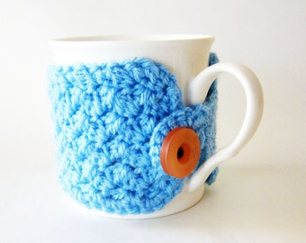 Blue coffee cup cozy/light blue cup cozy/Crochet blue mug cozy/Crochet cup warmer/Tea cup cozy/Cute coffee lover gift/Cute blue mug sleeve