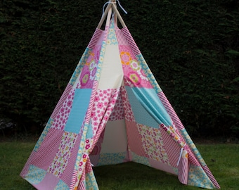 FREE DELIVERY. Twinkle Stars Childs Girls Teepee Wigwam Canvas Fabric Play Tent