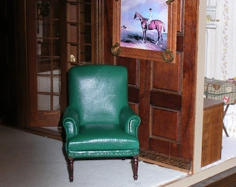 Miniature Dollhouse leather chair