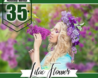35 Lilac flower photo overlays, photoshop overlay, photo overlays, summer wedding baby photo, PNG files for photographers