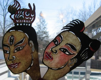 Pair of Vintage Shadow Puppet Faces - Male and Female Couple