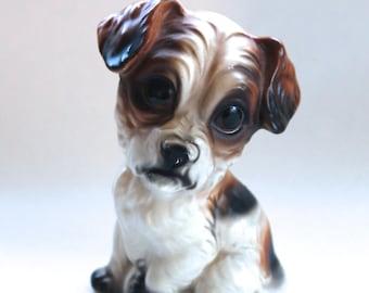 Vintage 1960's Super Kitschy Big Eyed Dog Ceramic Figurine! Choice Imports!