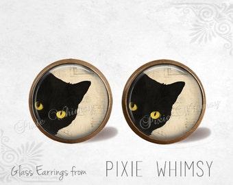 CAT Earrings, Black Cat Earrings, Cat Jewelry, Cat Stud Earrings, Cat Post Earrings, Stud Earrings, Post Earrings, Pierced Earrings Gothic