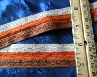 VIntage Woven Flat striped trim - 12 yards long x 1 3/16th width