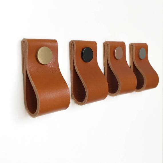 Kitchen Cabinet Upgrade New Knobs Coming Later: Leather Pulls / Leather Handles / Leather Cabinet Hardware