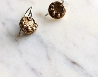 charming old world bronze earrings : everyday jewelry - mixed metal jewelry - sterling silver