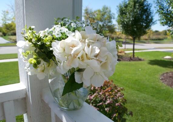 Hydrangea Flower Arrangement Green Hydrangeas White