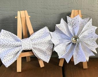 NEW! Shiny Silver Dog Bow tie