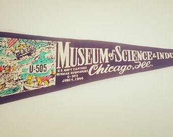 Vintage Flag Pennant Souvenir Museum Of Science & Industry Chicago