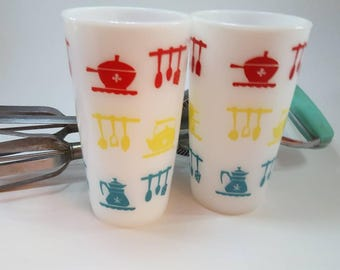 Set of 2 Hazel atlas milk glass tumblers/mugs/tall/kitchen decor/glasses/vintage/turquoise/yellow/red