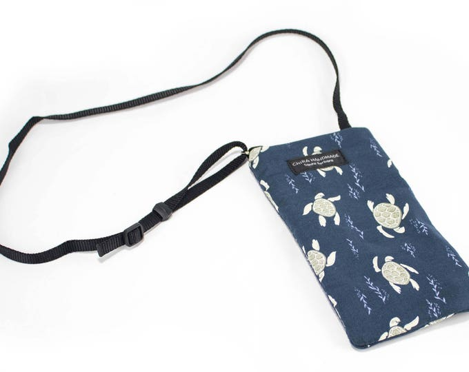 Sea turtle fabric Eyeglass Reader Case -with adjustable neck strap lanyard