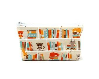 Books and Cats Makeup Bag, Makeup Pouch, Zipper Pouch, Zipper Bag, Cat Cosmetic Bag, Cat Zipper Bag, Toiletry Bag, Kitten Pouch
