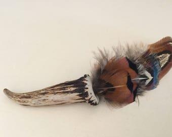 Scottish Deer Antler Feather Brooch Wedding Buttonhole