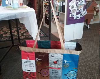 Real Coffee Bag Tote Bag, Coffee Tote