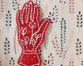 Plants Within Hand Patch - Hand embroidered felt patch